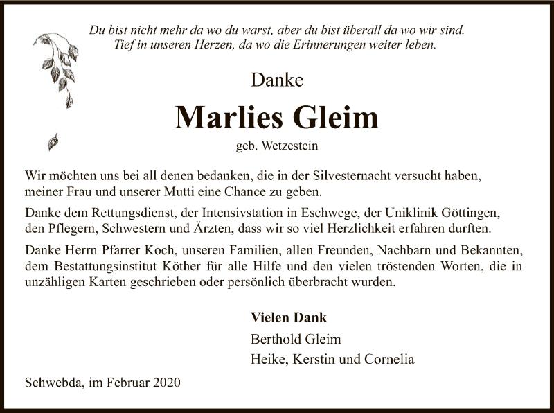 Traueranzeige für Marlies Gleim vom 08.02.2020 aus Eschwege