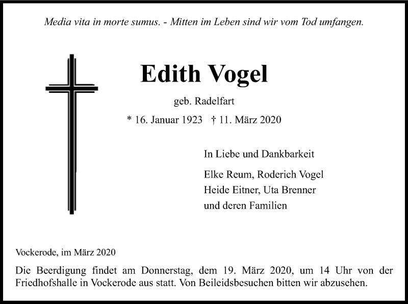 Traueranzeige für Edith Vogel vom 14.03.2020 aus Eschwege