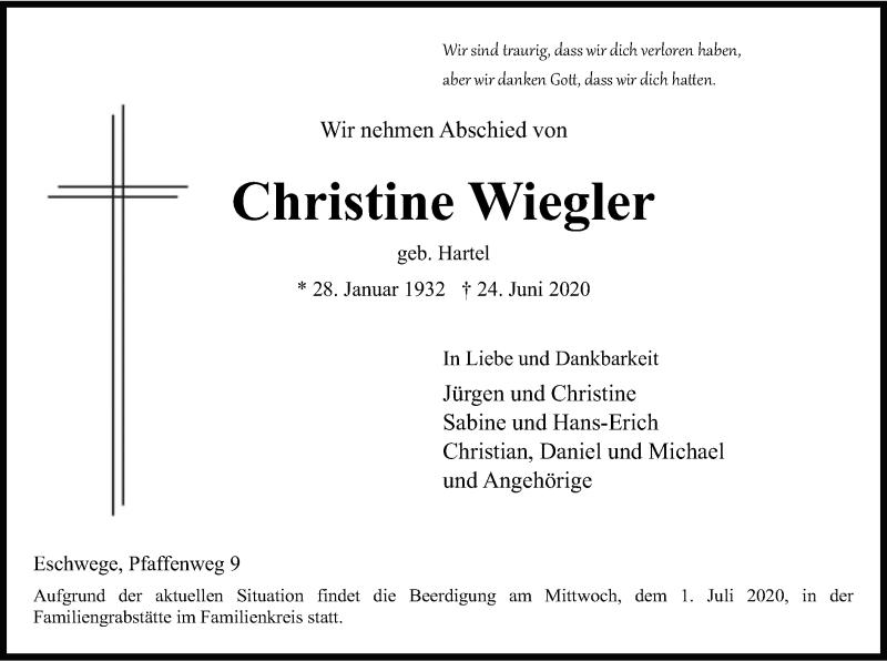 Anzeige von  Christine Wiegler
