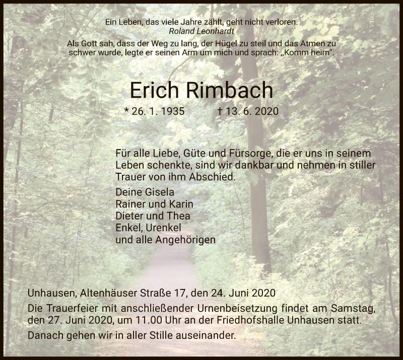 Traueranzeige für Erich Rimbach vom 24.06.2020 aus WRS