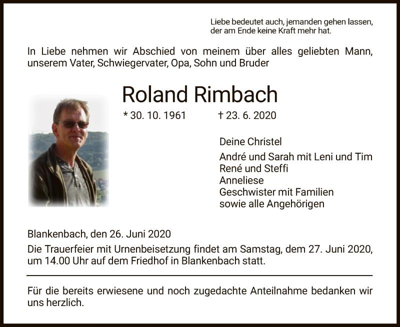 Anzeige von  Roland Rimbach