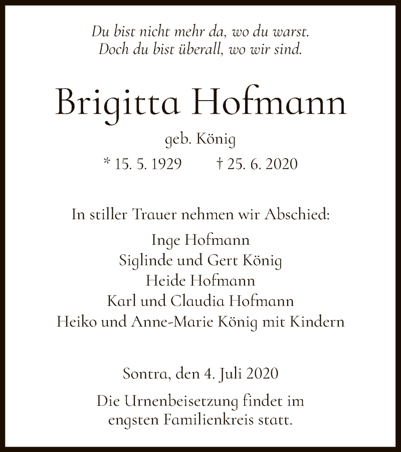Anzeige von  Brigitta Hofmann