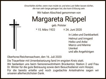 Traueranzeige von Margareta Rüppel von WRS