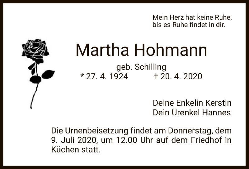 Anzeige von  Martha Hohmann