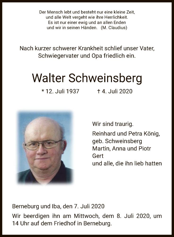 Anzeige von  Walter Schweinsberg