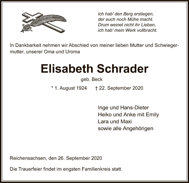 Traueranzeige für Elisabeth Schrader vom 26.09.2020 aus WRS
