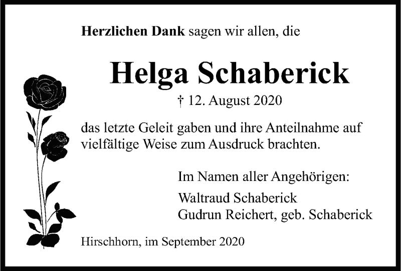 Anzeige von  Helga Schaberick