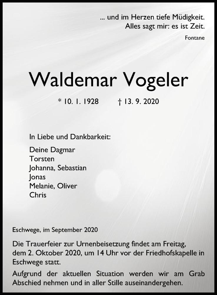 Anzeige von  Waldemar Vogeler
