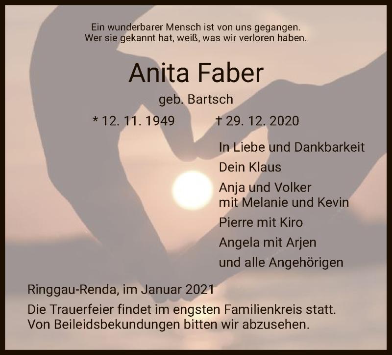 Traueranzeige für Anita Faber vom 05.01.2021 aus WRS