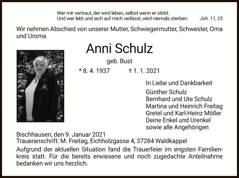 Traueranzeige für Anni Schulz vom 09.01.2021 aus WRS