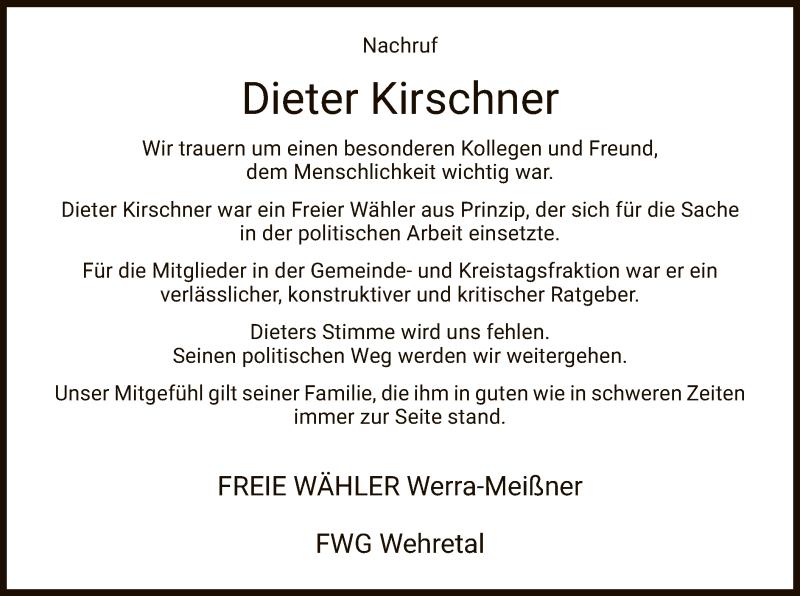 Traueranzeige für Dieter Kirschner vom 16.01.2021 aus WRS