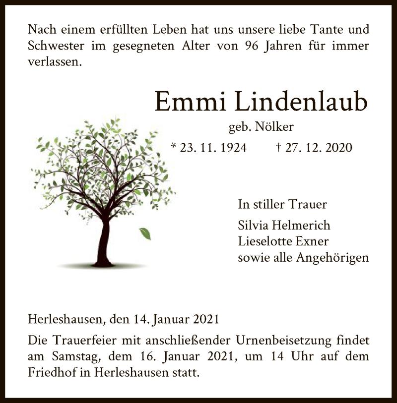 Traueranzeige für Emmi Lindenlaub vom 14.01.2021 aus WRS