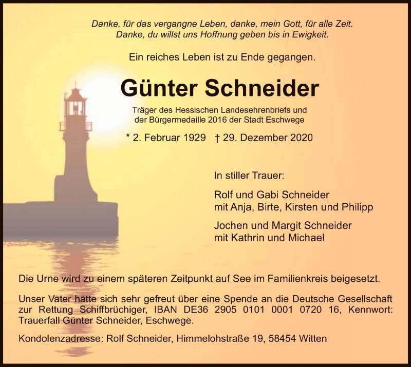 Traueranzeige für Günter Schneider vom 09.01.2021 aus WRS