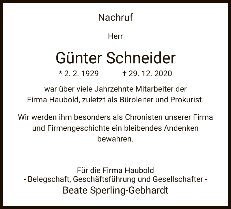 Traueranzeige für Günter Schneider vom 23.01.2021 aus WRS