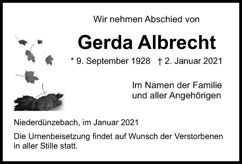 Traueranzeige für Gerda Albrecht vom 13.01.2021 aus WRS