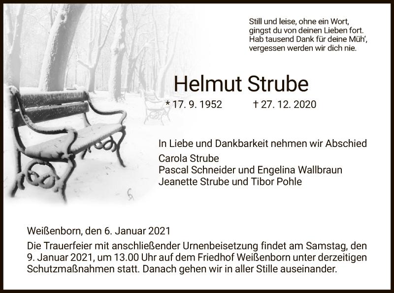 Traueranzeige für Helmut Strube vom 06.01.2021 aus WRS