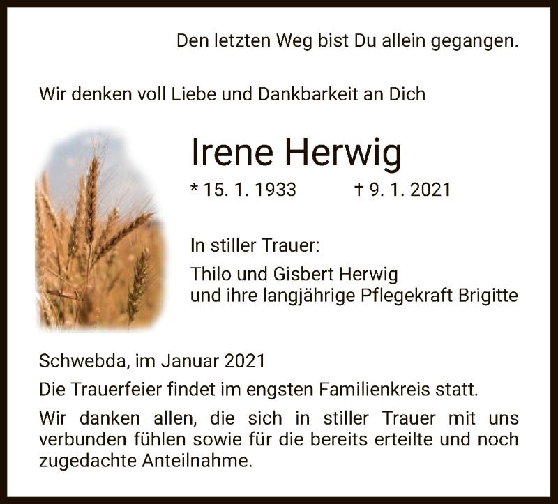 Traueranzeige für Irene Herwig vom 23.01.2021 aus WRS