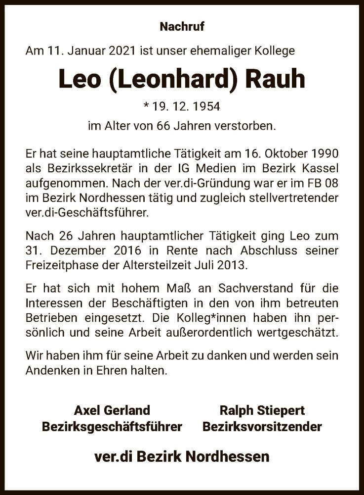 Traueranzeige für Leo Rauh vom 16.01.2021 aus HNA