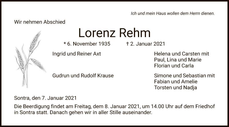 Traueranzeige für Lorenz Rehm vom 07.01.2021 aus WRS