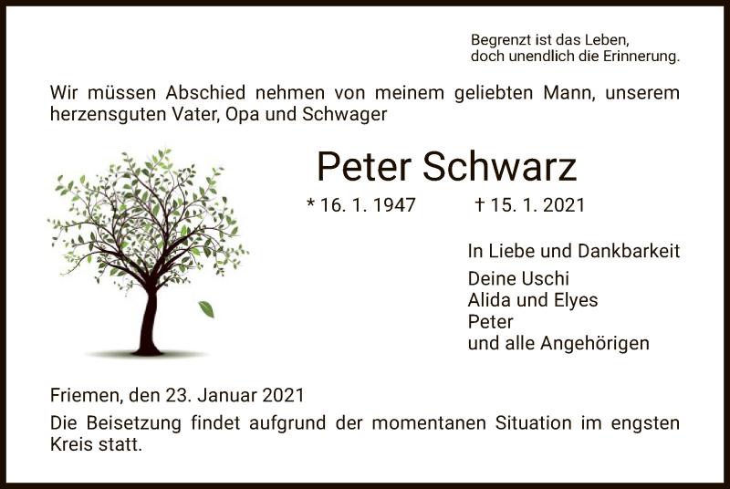 Traueranzeige für Peter Schwarz vom 23.01.2021 aus WRS