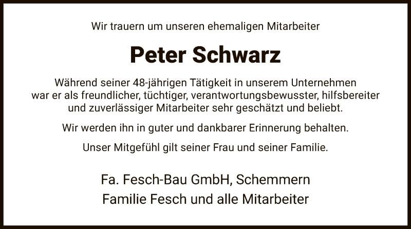 Traueranzeige für Peter Schwarz vom 28.01.2021 aus WRS