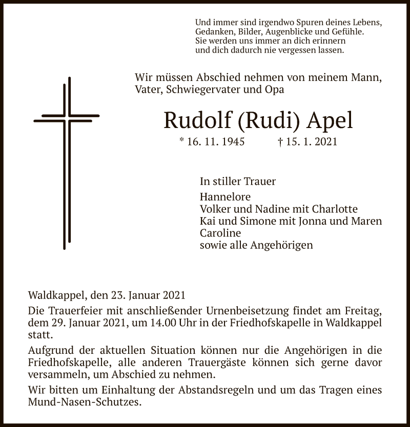 Traueranzeige für Rudolf  Apel vom 23.01.2021 aus WRS