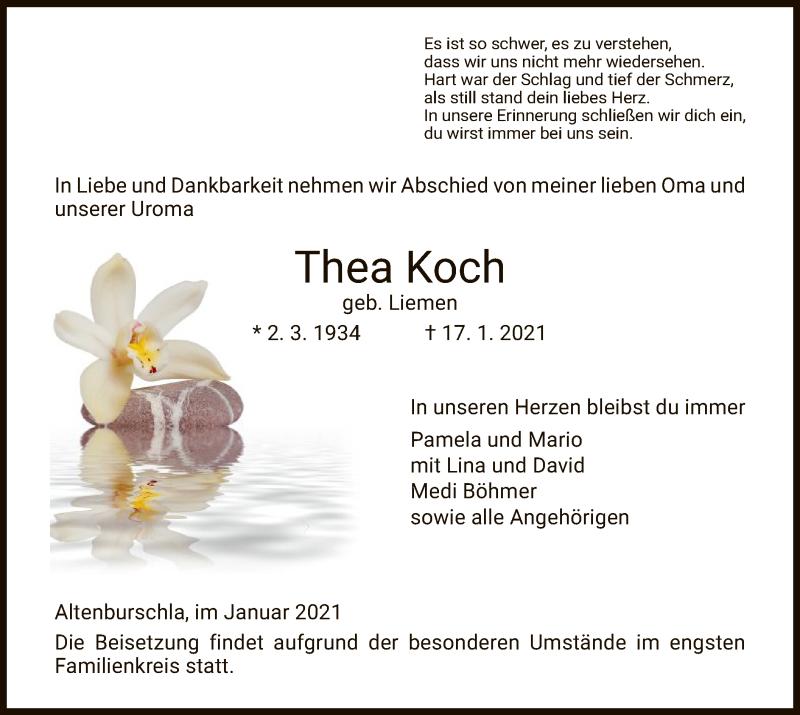 Traueranzeige für Thea Koch vom 23.01.2021 aus WRS