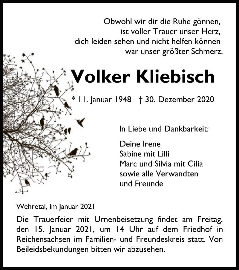 Traueranzeige für Volker Kliebisch vom 13.01.2021 aus WRS