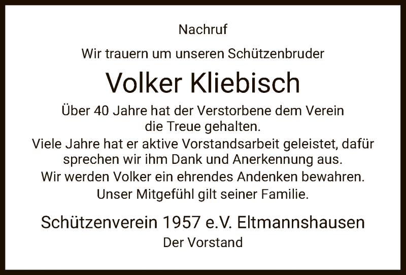 Traueranzeige für Volker Kliebisch vom 15.01.2021 aus WRS
