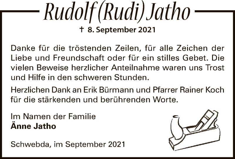 Traueranzeige für Rudolf Jatho vom 02.10.2021 aus WRS