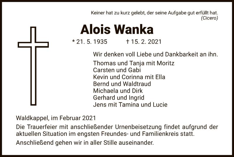 Traueranzeige für Alois Wanka vom 20.02.2021 aus WRS