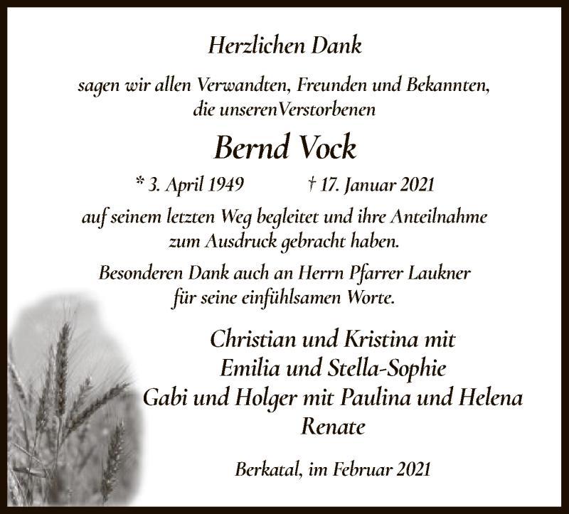 Traueranzeige für Bernd Vock vom 27.02.2021 aus WRS
