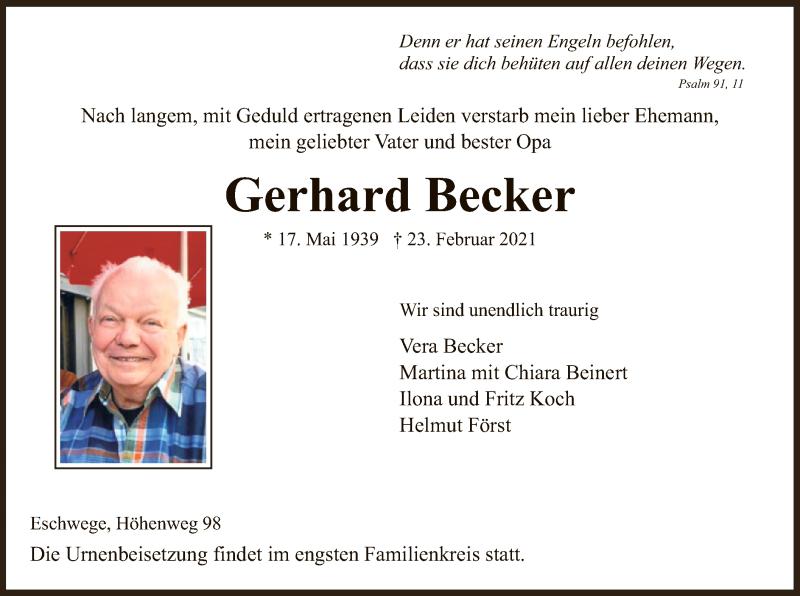 Traueranzeige für Gerhard Becker vom 27.02.2021 aus WRS