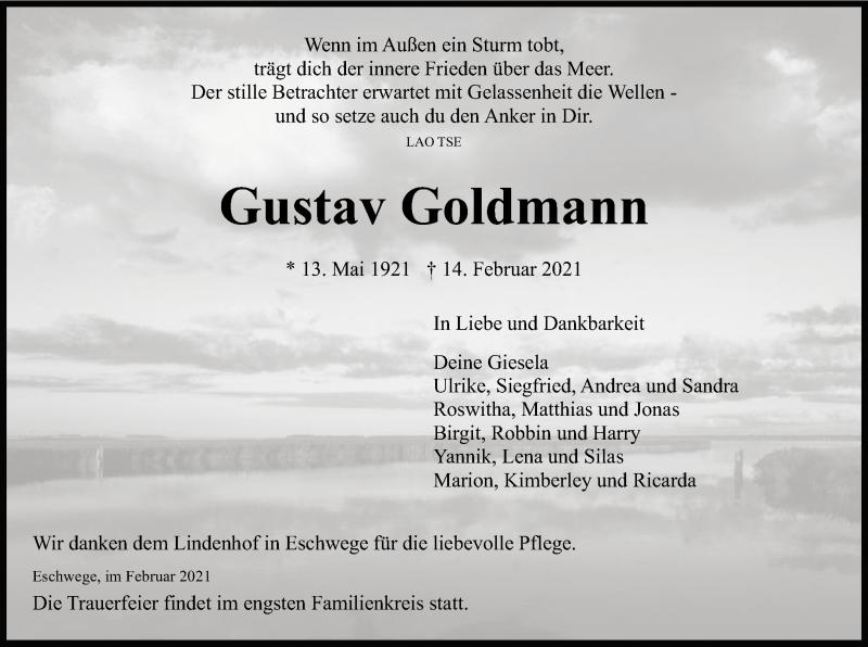 Traueranzeige für Gustav Goldmann vom 20.02.2021 aus WRS