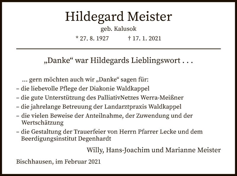 Traueranzeige für Hildegard Meister vom 12.02.2021 aus WRS