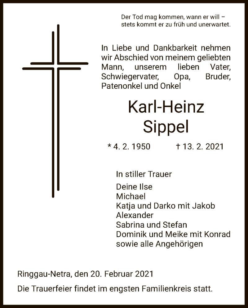 Traueranzeige für Karl-Heinz Sippel vom 20.02.2021 aus WRS