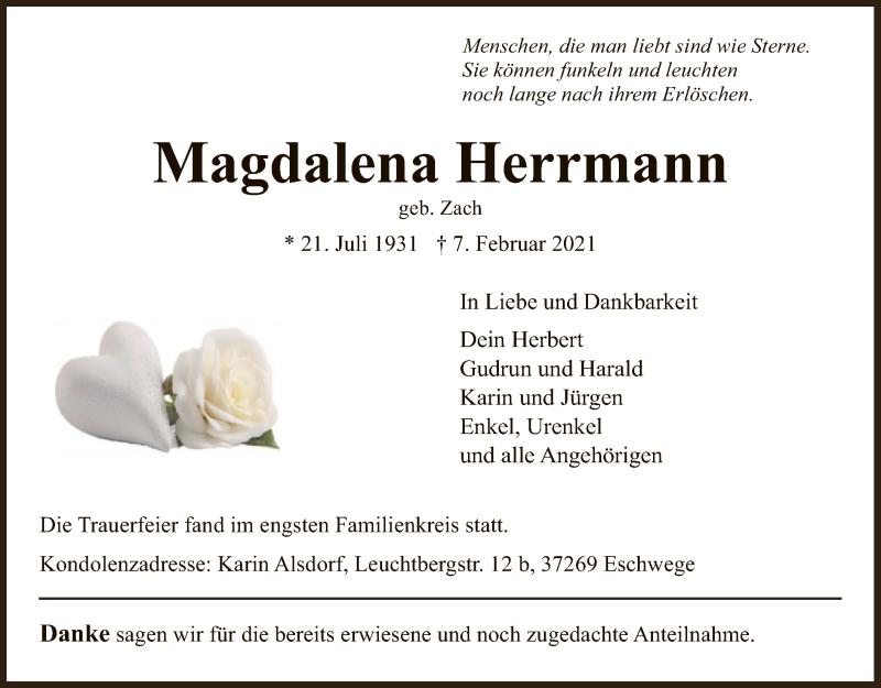 Traueranzeige für Magdalena Herrmann vom 20.02.2021 aus WRS