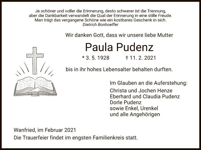 Traueranzeige für Paula Pudenz vom 18.02.2021 aus WRS