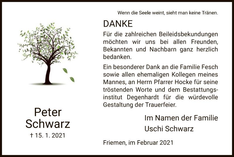 Traueranzeige für Peter Schwarz vom 13.02.2021 aus WRS