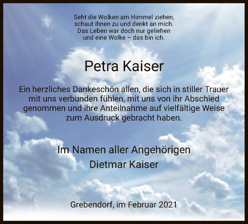 Traueranzeige für Petra Kaiser vom 27.02.2021 aus WRS