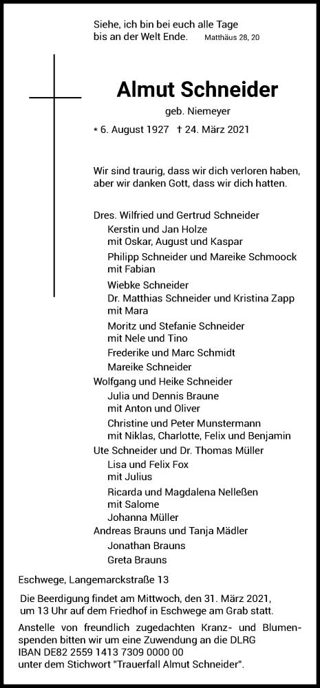 Traueranzeige für Almut Schneider vom 27.03.2021 aus WRS