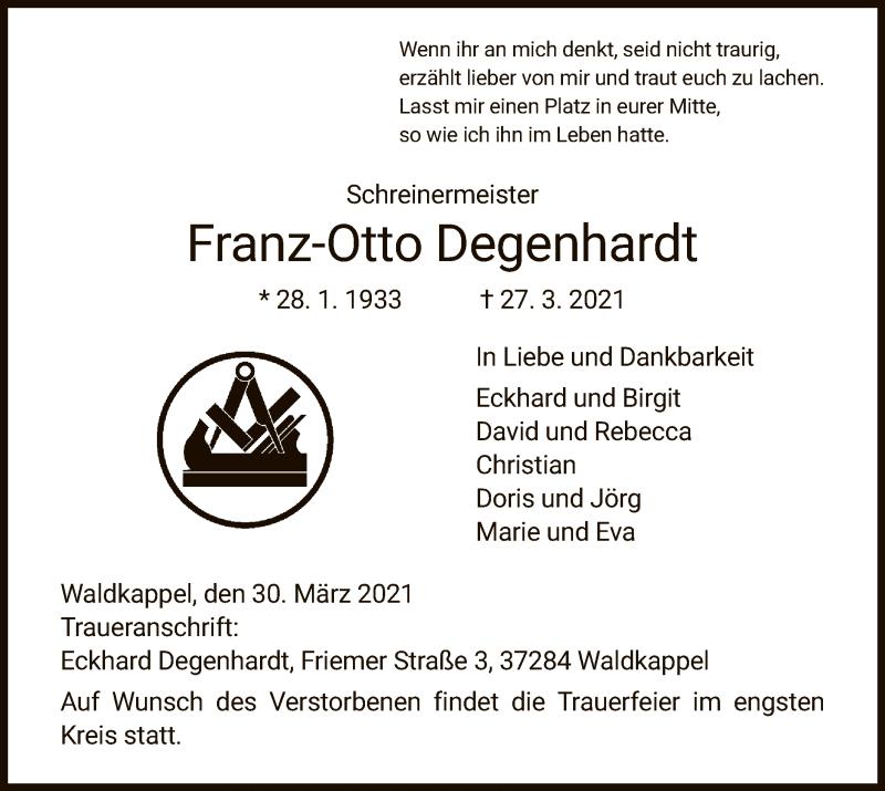 Traueranzeige für Franz-Otto Degenhardt vom 30.03.2021 aus WRS