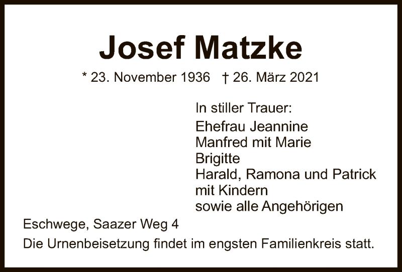 Traueranzeige für Josef Matzke vom 31.03.2021 aus WRS