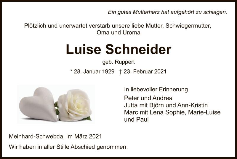 Traueranzeige für Luise Schneider vom 02.03.2021 aus WRS