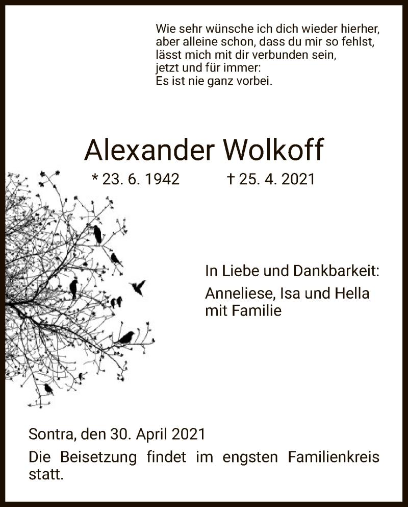 Traueranzeige für Alexander Wolkoff vom 30.04.2021 aus WRS