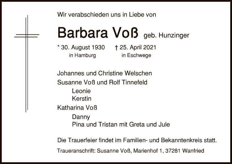 Traueranzeige für Barbara Voß vom 28.04.2021 aus WRS