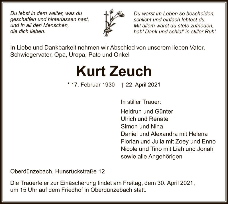 Traueranzeige für Kurt Zeuch vom 28.04.2021 aus WRS