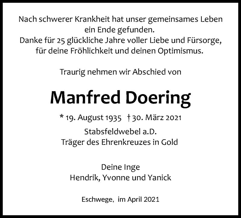 Traueranzeige für Manfred Doering vom 07.04.2021 aus WRS