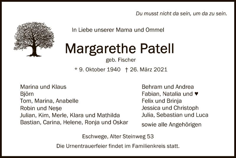 Traueranzeige für Margarethe Patell vom 03.04.2021 aus WRS
