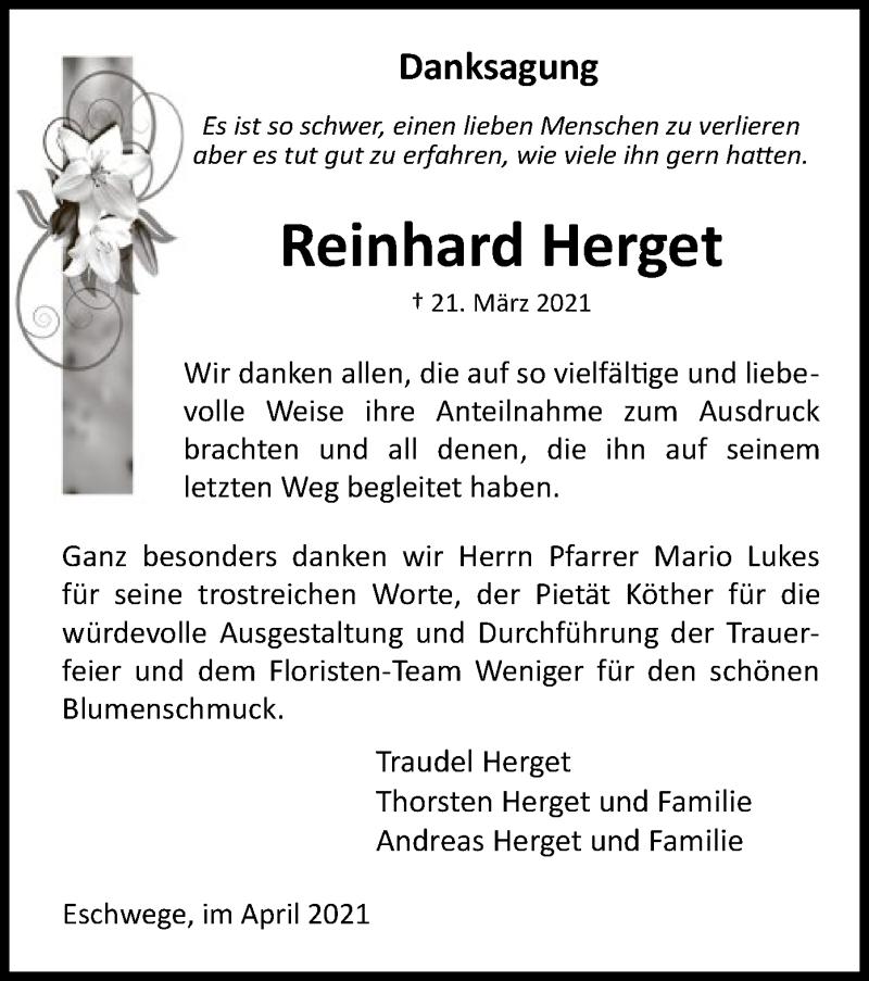 Traueranzeige für Reinhard Herget vom 03.04.2021 aus WRS